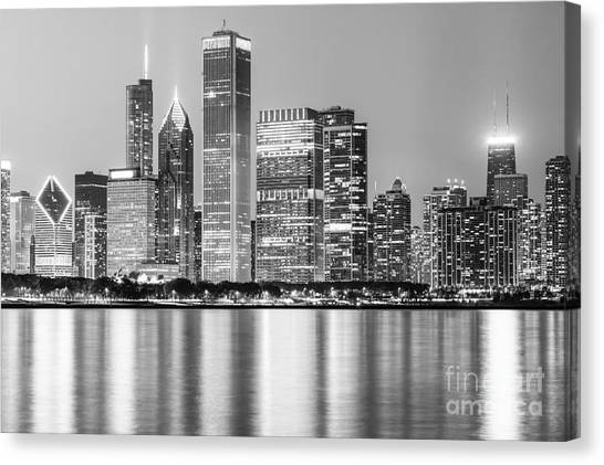 Chicago Black White Canvas Print - Downtown Chicago Skyline Black And White Photo by Paul Velgos