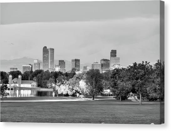 Canvas Print featuring the photograph Downtown Denver Skyline - Black And White by Gregory Ballos