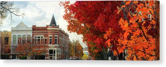 University Of Arkansas Canvas Print - Downtown Fayetteville Arkansas Autumn Skyline Panorama by Gregory Ballos