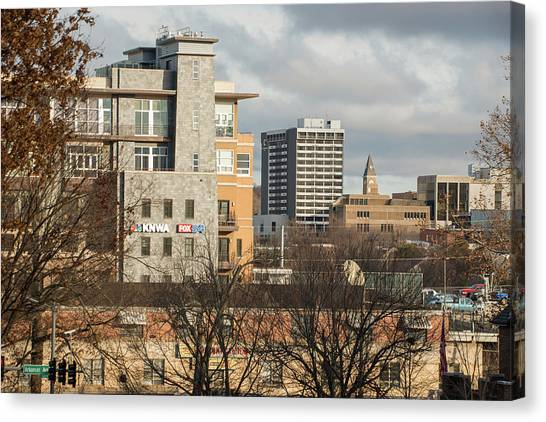 University Of Arkansas University Of Arkansas Canvas Print - Downtown Fayetteville Arkansas Skyline - Dickson Street by Gregory Ballos