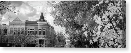 University Of Arkansas Canvas Print - Downtown Fayetteville Arkansas Skyline Panorama - Black And White by Gregory Ballos