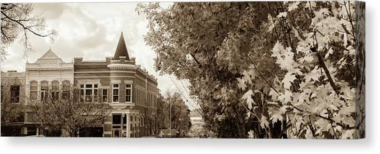University Of Arkansas Canvas Print - Downtown Fayetteville Arkansas Skyline Panorama - Sepia by Gregory Ballos