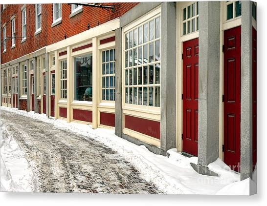 Maine Winter Canvas Print - Downtown Gardiner Winter by Olivier Le Queinec