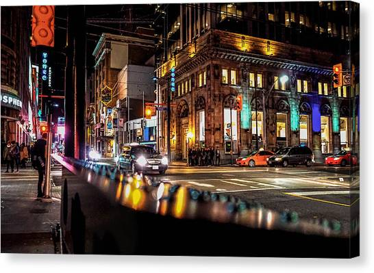 Stoplights Canvas Print - Downtown by Hani Ramzan