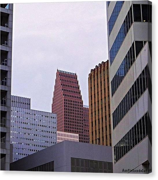 Houston Skyline Canvas Print - #downtown #houston On A Gloomy Cold by Austin Tuxedo Cat