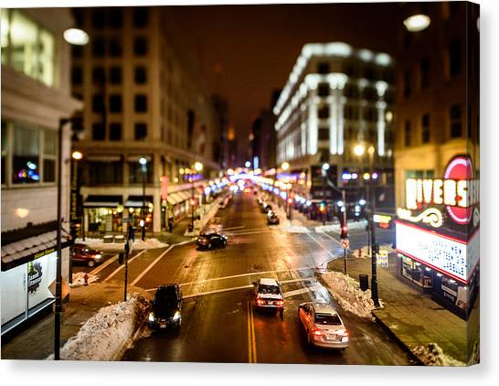 Downtown In The Itty-bitty City Canvas Print