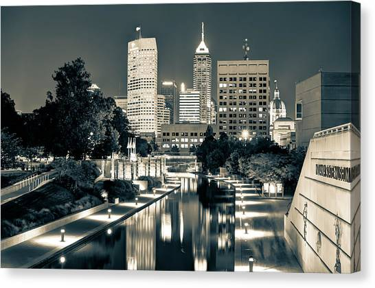 Downtown Indianapolis Indiana Skyline In Sepia Canvas Print