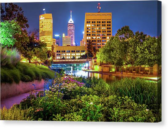 Canvas Print featuring the photograph Downtown Indianapolis Skyline At Night by Gregory Ballos