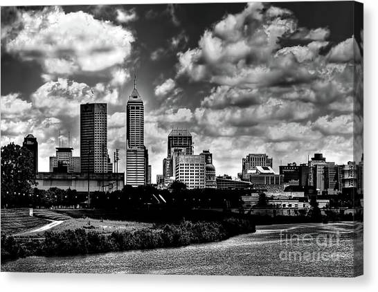 Downtown Indianapolis Skyline Black And White Canvas Print