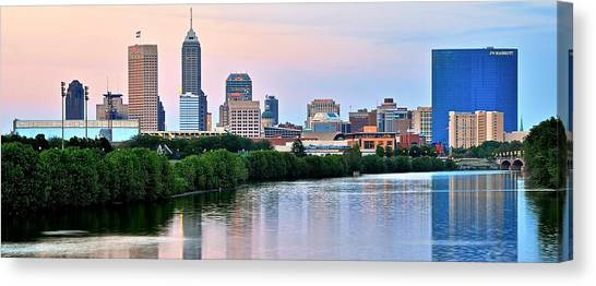 Purdue University Canvas Print - Downtown Indy Panoramic by Frozen in Time Fine Art Photography