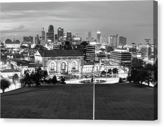Kansas state canvas print downtown kansas city skyline at dusk in black and white by
