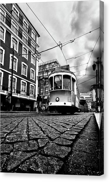 Light Rail Canvas Print - Downtown Lisbon by Jorge Maia