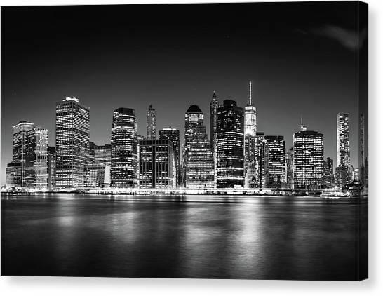 Big East Canvas Print - Downtown Manhattan Bw by Az Jackson