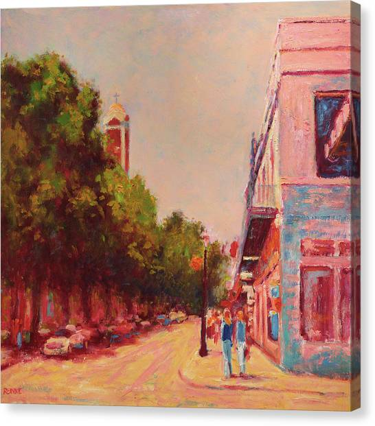 Downtown Mobile On Dauphin By Cathedral Park Canvas Print