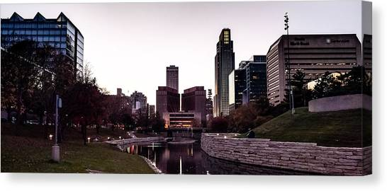 Downtown Omaha At Sunset Canvas Print