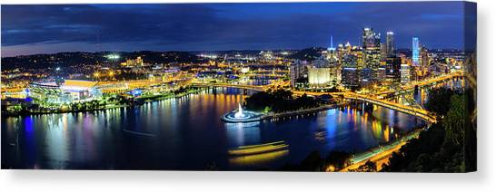 Carnegie Mellon University Canvas Print - Downtown Pittsburgh At Night by Stephen Stookey