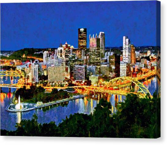 Canvas Print featuring the digital art Downtown Pittsburgh At Twilight by Digital Photographic Arts