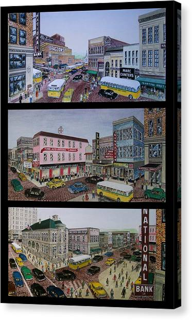 Downtown Portsmouth 1948 Canvas Print
