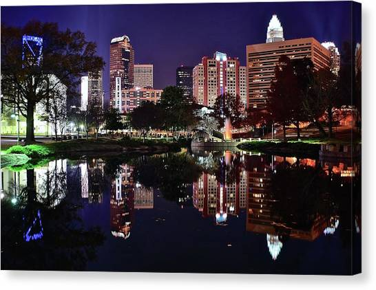 Charlotte Bobcats Canvas Print - Downtown Reflection Of Charlotte by Frozen in Time Fine Art Photography