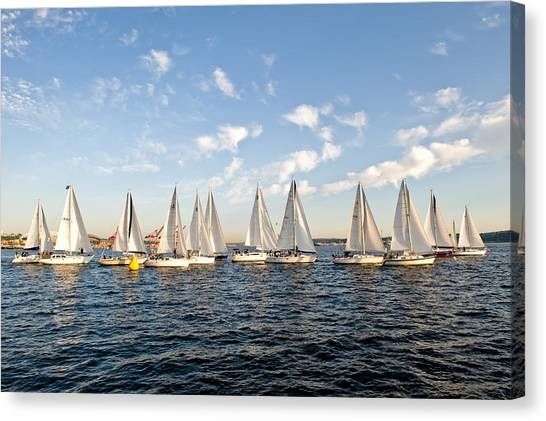 Downtown Sailing Series Canvas Print by Tom Dowd