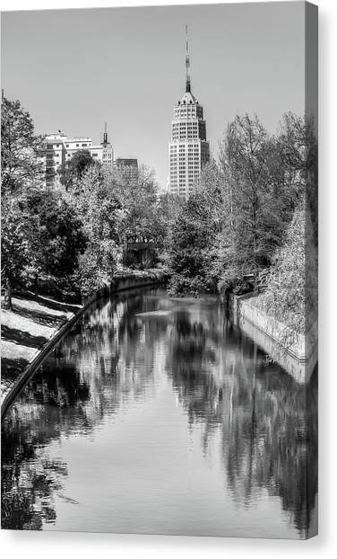 Downtown San Antonio Skyline On The River In Black And White Canvas Print