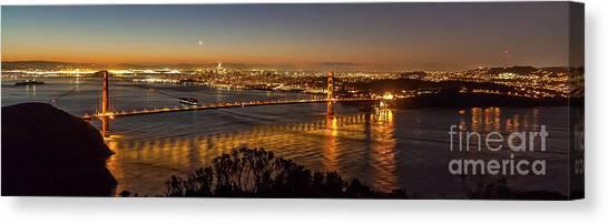 Downtown San Francisco And Golden Gate Bridge Just Before Sunris Canvas Print