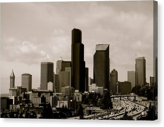 Downtown Seattle Canvas Print by Sonja Anderson