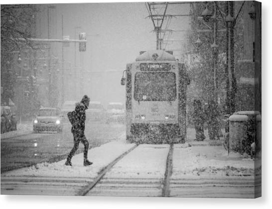Downtown Snow Storm Canvas Print