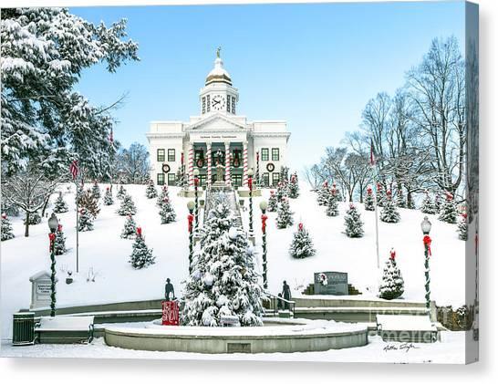 Downtown Sylva Courthouse Christmas 2016 Canvas Print