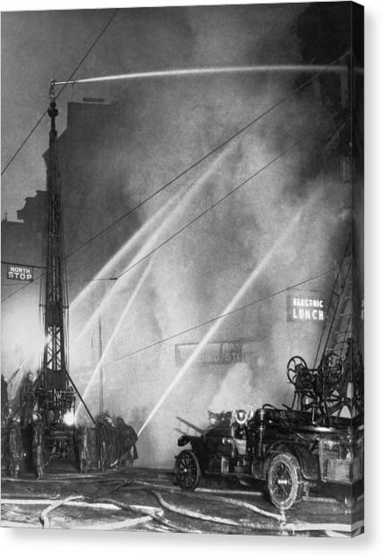 Pollution Canvas Print - Downtown Syracuse Fire by Underwood Archives