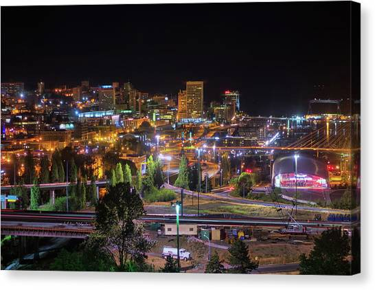 Downtown Tacoma Night Canvas Print