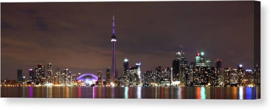 Downtown Toronto - Lit Up Canvas Print