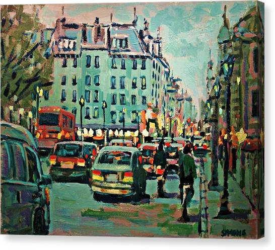 Downtown Traffic Canvas Print by Brian Simons