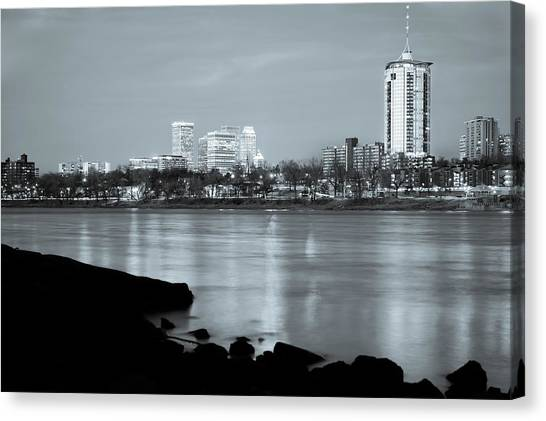Oklahoma University Canvas Print - Downtown Tulsa Oklahoma - University Tower View - Black And White by Gregory Ballos