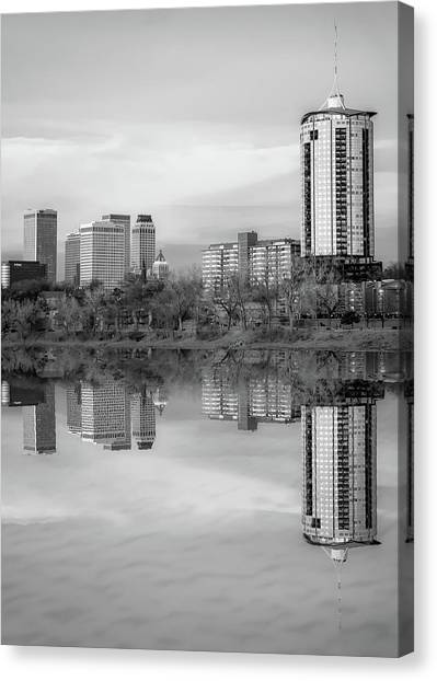 Oklahoma State University Canvas Print - Downtown Tulsa Skyline Reflections In Black And White - Oklahoma Art by Gregory Ballos