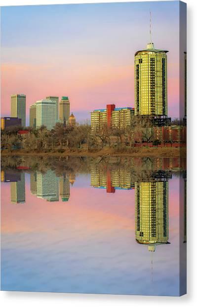 Oklahoma State University Canvas Print - Downtown Tulsa Skyline Reflections - Oklahoma Art by Gregory Ballos