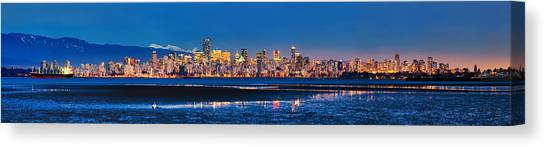 Downtown Vancouver From Spanish Banks Beach Canvas Print