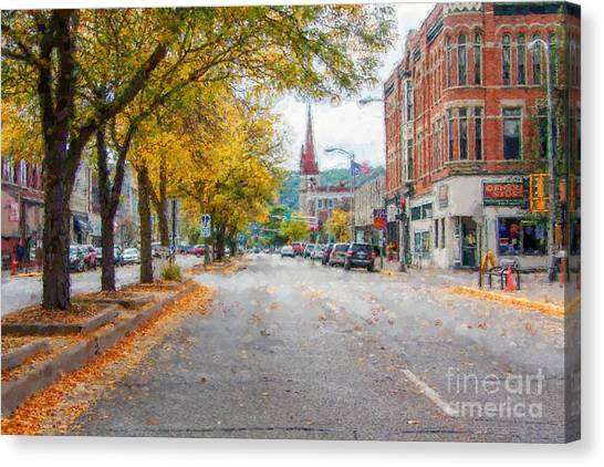 Downtown Winona Painting Effect Canvas Print