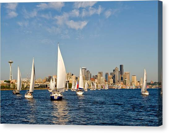 Downtwon Seattle Waterfront Canvas Print by Tom Dowd