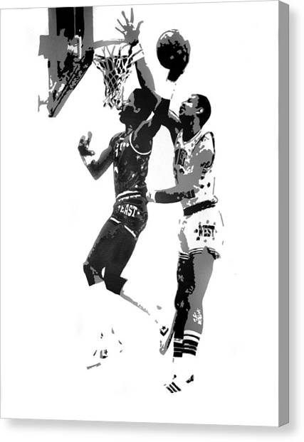 Dr. J And Kareem Canvas Print by Ferrel Cordle