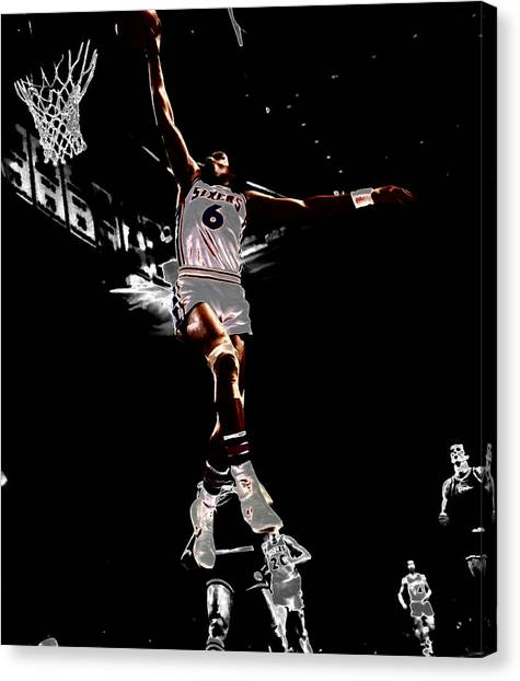 Denver Nuggets Canvas Print - Dr J Slam by Brian Reaves