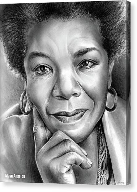 Rights Canvas Print - Dr Maya Angelou by Greg Joens
