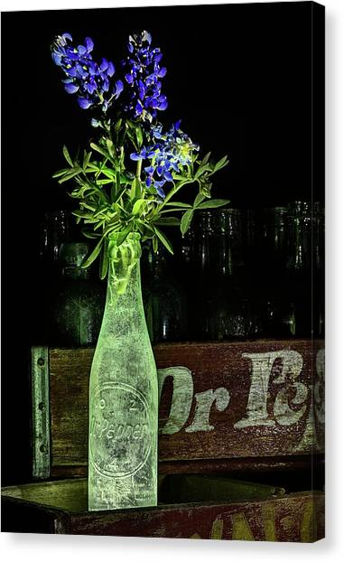 Dr. Pepper Canvas Print - Dr Pepper And Bluebonnet Still Life by JC Findley