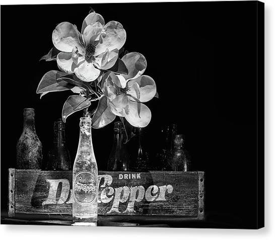 Dr. Pepper Canvas Print - Dr Pepper And Magnolia Still Life Black And White by JC Findley
