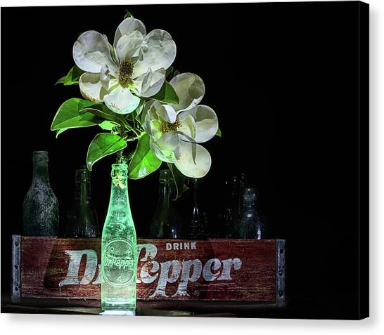 Dr. Pepper Canvas Print - Dr Pepper And Magnolia Still Life by JC Findley