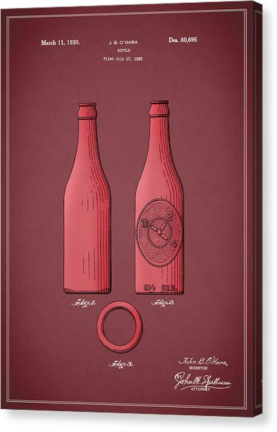 Pepsi Canvas Print - Dr Pepper Bottle Patent 1930 by Mark Rogan