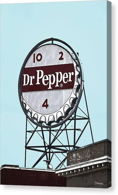 Dr. Pepper Canvas Print - Dr Pepper Landmark Sign Roanoke Virginia by Teresa Mucha