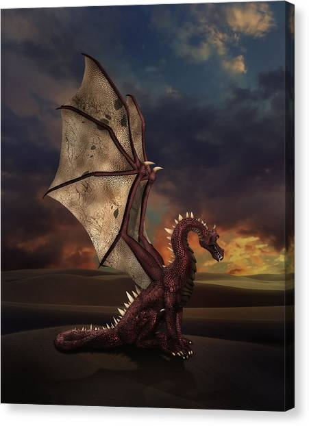 Dragon At Sunset Canvas Print