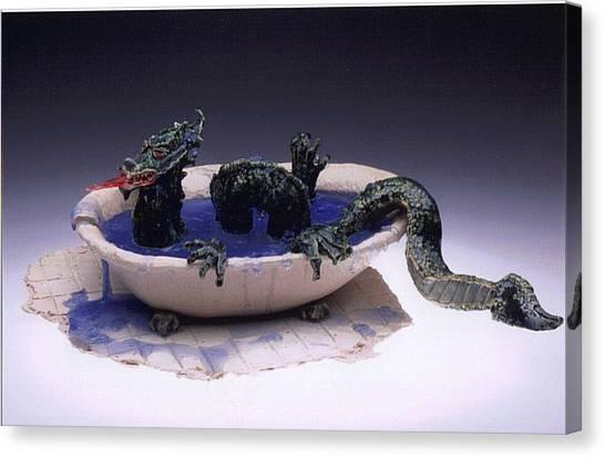Dragon Bath Canvas Print by Doris Lindsey