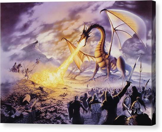 Mythological Creatures Canvas Print - Dragon Battle by The Dragon Chronicles - Steve Re